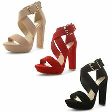 Womens Ladies Strappy Platform Block High Heel Ankle Strap Sandals Shoes Size UK