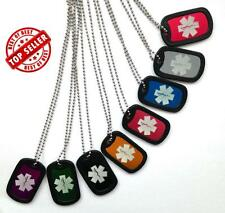 Medical Alert ID Tag Necklace FREE Double sided Engraving, Silencer, Ball Chain