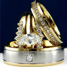 Gold Plated 0.9 ct Marquise Cut CZ Womans & 0.03ct Mans Wedding Bridal Rings Set