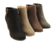 NEW WOMEN FASHION *RENEEZE* COMFY STACKED CHUNKY HEEL SIDE ZIPPER ANKLE BOOTIE