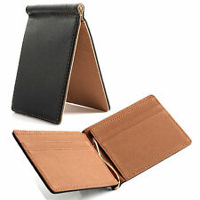 Faux Leather Mens Black Wallet Business Style Money Clip Credit Card Holder NEW
