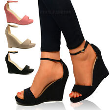 WOMENS LADIES MID HIGH HEELS PLATFORM WEDGE STRAPPY PEEP TOE SUMMER SANDALS SIZE