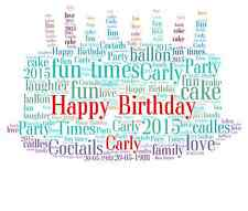 Personalised Word Art Birthday Cake Keepsake gift your own words ond any numbers