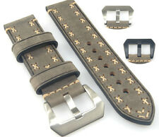 Vintage Gray Cowhide Leather Watch Band Strap Hand Stitched 20 22 24 26mm