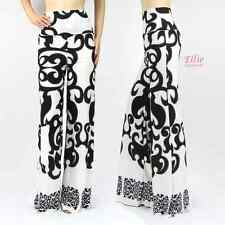 Women's Damask Boho black/white High Waist Fold Over Palazzo Pants ( S M L )