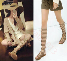 Women's Roman Gladiator Sandals Knee High Boots Flat Heel Oxfords Size