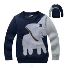 New Quality Cool Cute Elephant Childrens Boys Navy Blue Long Sleeves Jumper Top
