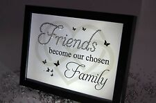 Friends Become Family, Sparkle Word Art Pictures, Quotes, Sayings, Home Decor
