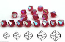 Czech MC Glass Bicone Beads (Rondell/Diamond) Light Siam AB coated red crystals