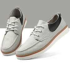 Elegant Stylish Canvas & Leather Patchwork Flat Sneaker Shoes Men Sewing Lace Up