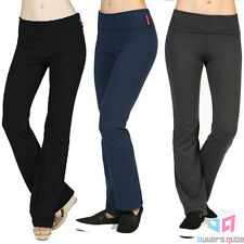 Women's Active Athletic Flare Bottom Fold Over Yoga Pants Stretchy Gym Pants