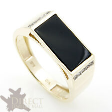 9ct REAL GOLD 1.7ct GENUINE BLACK AGATE DIAMOND Mens Ring Father Gifts Full Size