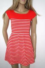FRENCH CONNECTION RED WHITE STRIPE SKATER DRESS SIZE 4 - 10 COTTON TUNIC SUN