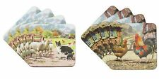 MacNeil Studio Set of 4 Coasters Farm Sheep Collie Dog Country Kitchen Leonardo