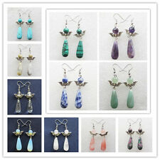Beautiful Mixed Stone Teardrop & Tibet Silver Angel Earrings X128