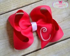 Monogram Boutique Bow Personalized Initial Letter Girls & Toddlers Hair Clip
