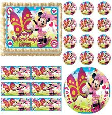 MINNIE MOUSE with BUTTERFLY Party Edible Cake Topper Frosting Sheet Image! NEW!
