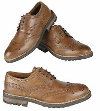 RT Mens Real Leather Classic Brogues Smart Formal Casual Work Shoes Size