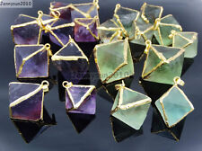Natural Fluorite Gemstone Octagonal Pointed Reiki Healing Pendants Gold Edge