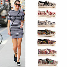 LADIES WOMENS FLAT PUMPS TRAINERS SLIP ON CASUAL SPORTY SNEAKERS SHOES SIZE