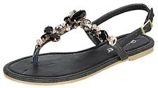 NEW Fashionable Women Rhinestone Flat Sandals Black