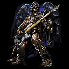 Ax Man Grim Reaper Skull Angel Playing Guitar Rock & Roll Music T-Shirt Tee