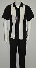 Big&TallStacy Adams Walking 2 Piece Suit Poly-Rayon Black&White One chest pocket
