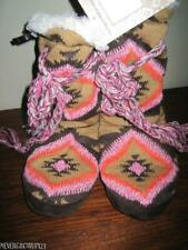 ORIGINAL MUK LUKS~WOMENS S~M~FAUX-FUR LINED KNIT BOOT SLIPPERS~BROWN/ORANGE/PINK