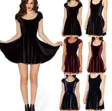 Vogue Ladies Short Above Knee Mini Stretch Velvet Cap Cap Sleeve Skater Dress