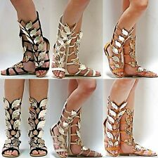 New Women FK72 Black Tan Beige Strappy Gold Wing Gladiator Mid-Calf Tall Sandal