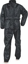 MEN'S MOTORCYCLE MOTORBIKE NYLON RAIN SUIT GEAR LIGHT WEIGHT BLACK COLOR NEW