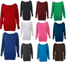 Womens Plain Long Sleeved Batwing Jersey Baggy Stretch Tunic Top Size 8-14 New