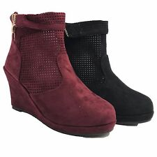 Womens Fashion Ankle Booties Boots Shoes Wedges Faux Fur Leather Strap Comfort A