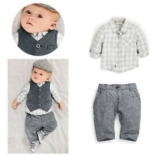 Hot New Toddler baby Boy Grey Waistcoat+Pants+Shirts Clothes 3PCS Vest