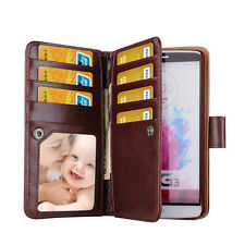 Dual Wallet Leather Retro Vintage Multifunction Book Flip Case Cover for LG G3