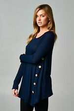 PLUS size Side Button Tunic NAVY or OATMEAL COLOR