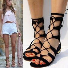 Women's Cow Leather Lace Up Roman Gladiator Sandals Flats Summer Ankle Boots