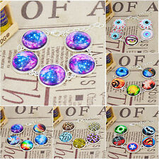 Handmade star universe Photo Glass Cabochon Silver Plated Link Chain Bracelets