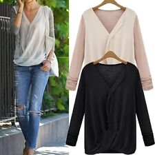 New Women's Stitching Knitted Loose Chiffon Long Sleeve Shirt Casual Top Blouse