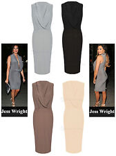New Womens Ladies Celeb Inspired Drapped Cowl Wrap Neck Ruched Party Midi Dress