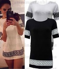 NEW WOMENS CELEB INSPIRED LADIES AZTEC TRIBAL OVERSIZED BAGGY TOP T-SHIRT 8-14