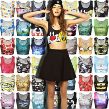 New Women's Sleeveless Crop Tops 3D Graphic Print Short Vest Tank Tops Camisole