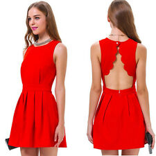 Red Sleeveless Fashionable Hollow-Out Design Women Party Dress Summer Dress