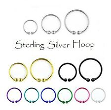 Sterling Silver Fake Nose Ring - Ear Cartilage Hoop Tiny Tragus Earring Septum