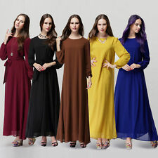 Blue Kaftan Abaya Jilbab Islamic Muslim Bow Women Long Sleeve  Maxi Dress Fancy