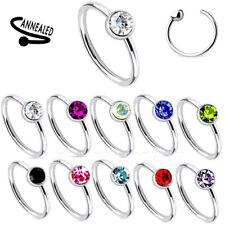 """1pc. 20g~5/16"""", 3/8"""" 316L Surgical Steel with Flat CZ Gem Nose Hoop Ring Tragus"""