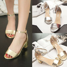 2015NEW Summer Women Vintage Sexy Block High Heel Pump Ankle Strap Shoes Sandals
