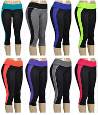 Women's Sport Athletic Gym Workout Fitness Yoga Waistband Capri Leggings Pants