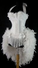 Victorian Lace Burlesque Costume Feather Showgirl Moulin Circus Dancer White