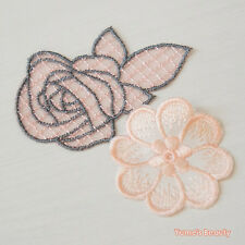 2 pcs: Light Pink Embroidery Flower & Net Rose Lace Applique Sewing Craft DIY